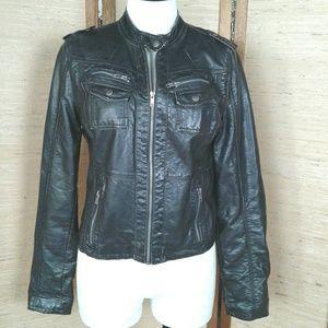 Xhileration Black pleather moto jacket M